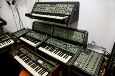 1975 Vintage Roland System 100 at Synthesizer Studios Hamburg  Top: Roland SH-5 mono synth, Middle L-R: Model 103 mixer, 2 x Model 101 synths and Model 102 Expanders, Model 104 sequencer: Bottom: Roland RS-505 Paraphonic Strings synthesizer. Users include: Human League, Depeche Mode, Heaven 17, Vangelis, Tangerine Dream and Vince Clarke.