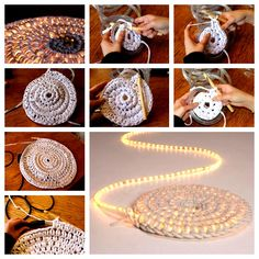 This Crochet Led Light Rug is a must make and it looks great. It's also a fabulous free pattern and makes a great night light for a nursery. Crochet Baby Socks, Crochet Hat For Women, Diy Crochet, Yarn Crafts, Fabric Crafts, Crochet Rug Patterns, Knitting Patterns, Crochet Home Decor, Diy Furniture Projects