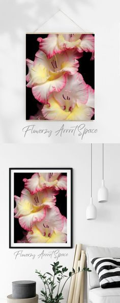 Wall Art For Sale, Gladiolus, Wall Decor, Hand Painted, White Colors, Art Prints, Bedroom Wall, Small Businesses, Floral