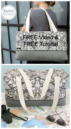 Free bag sewing patterns Archives - Sew Modern Bags Sew Modern Bags brings you another FREE sewing pattern, this time it's a Perfect Damask Duffle Ba Sewing Hacks, Sewing Tutorials, Sewing Tips, Diy Bags Sewing, Bag Tutorials, Sewing Crafts, Leftover Fabric, Love Sewing, Sewing Projects For Beginners