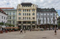the Market Square in Bratislava. Slovakia