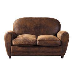 Canapé 2 places imitation cuir marron
