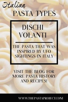 Known almost exclusively as dischi volanti here in Italy, this pasta is also sold abroad as just volanti or messicani. It was originally created in Tuscany in 1955 after UFOs were sighted over Florence. Great pasta for salads and chunky sauces. Gnocchi Recipes, Pasta Recipes, Dinner Recipes, Pasta Making Machine, Pasta Company, Perfect Pasta Recipe, Pasta Types, Ragu Recipe, Filled Pasta
