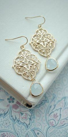 Blue Art Deco Filigree Chandelier, Light Blue, Alice Blue Gold Plated Glass Dangle Earrings. Bridesmaids Gifts. Boho Summer. Something Blue.  https://www.etsy.com/listing/219927754/blue-art-deco-filigree-chandelier-light?ref=listing-shop-header-0
