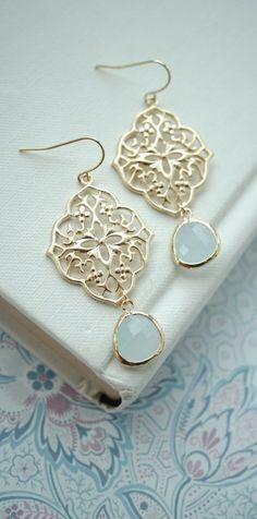 Blue Art Deco Filigree Chandelier, Light Blue, Alice Blue Gold Plated Glass Dangle Earrings. Bridesmaids Gifts. Boho Summer. Something Blue.  https://www.etsy.com/listing/219927754/blue-art-deco-filigree-chandelier-light?ref=listing-shop-header-0