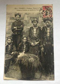 CPA Tonkin Caobang Femmes Hommes MAN COC Marché 1927 Carte Postale OLD Postcard…