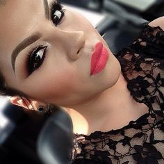 glamorous look   makeup ideas  bright lipstick