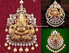 Divine Pendants with Polkis - Latest Indian Jewellery Designs Antique Jewellery Designs, Gold Earrings Designs, Gold Jewellery Design, Bead Jewellery, Gold Designs, Gold Pendant, Pendant Jewelry, Chain Pendants, Stone Pendants