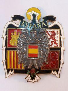 Spain Shako Plate Franco Espana Una Grande Libre Francoism Coat of Arms 1950-75