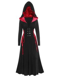 Halloween Hooded Velvet Lace Up Long Gothic Coat Edgy Outfits, Teen Fashion Outfits, Cool Outfits, Fashion Dresses, Trendy Clothes For Women, Coats For Women, Gothic Coat, Gothic Steampunk, Steampunk Clothing