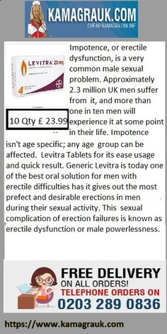 Levitra Tablets for its ease usage and quick result. Generic Levitra is today one of the best oral solution for men with erectile difficulties has it gives out the most prefect and desirable erections in men during their sexual activity. This sexual complication of erection failures is known as erectile dysfunction or male powerlessness. During this disorder, the person experience poor erections and in some cases no erections during their sexual intercourse even when they are sexually ...