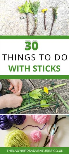 30 fun things to do with sticks. Ideas for kids activities using sticks including things to do on a walk, nature crafts, garden activities and more. Forest School Activities, Nature Activities, Outdoor Activities For Kids, Outdoor Learning, Spring Activities, Toddler Activities, Fun Activities, Kids Outdoor Crafts, Kids Nature Crafts