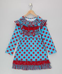 Take a look at this Turquoise & Red Delilah Dress - Infant, Toddler & Girls by Mustard Pie on #zulily today!