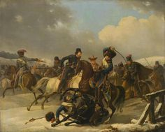 """Desarnod, Auguste-Joseph, the elder. 1788-1840 Title: """"The Skirmish of the Russian Light-Horse Cavalrymen with the French in 1812"""" Place: Russia Date: 1827 Material: canvas Technique: oil Dimensions: 97x121 cm"""