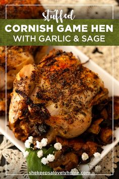 This garlic and sage Cornish game hen is stuffed with delicious, homemade Anjou pear and baby bella mushroom stuffing. The best recipe for an elegantly rustic dinner party with friends! dinnerrecipes, recipes, hen via 637963103442750335 Roasted Cornish Hen, Cornish Hen Recipe, Cornish Game Hen, Stuffed Cornish Hens, Christmas Dinner Party Games, Easy Christmas Dinner, Christmas Dinners, Elegant Christmas, Christmas 2019