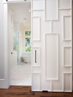 Bathroom Mirror Door mirrored fret door to closet // courtney giles interior design