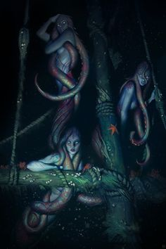 Sirenas in the deep caves of water