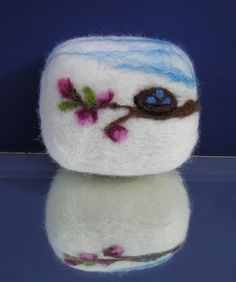 French Green Tea Felted Soap Cherry Blossom Nest Edition