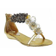 Designer Gold Leather Flat Boho Fashion Wedding Bridal Party Shoes SKU-1090215