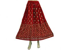 Amazon.com: Bohemian Skirts Gypsy Bellydance Floral Sequin Beaded Red Womens Long Skirt: Clothing  $23.99