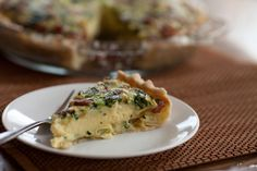 Dairy-free Quiche Recipe ; sooo delicious with mushrooms, onions, zucchini, asparagus...and bacon ;P