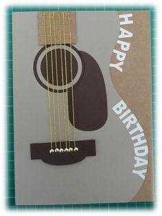 Guitar Card for boy's birthday.  Guitar image found on Cricut Design Space.