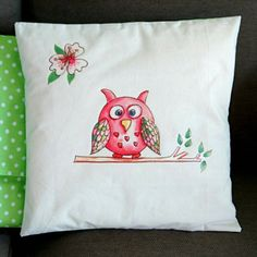 Owl Cushion Cover. Artist Cushion. Bird. Owl Cushion. Bird Cushion Cover. Linen Cushion. calico Cushion. Mothers Day. Nature Cushion. by SueRocheIllustration on Etsy https://www.etsy.com/listing/254832624/owl-cushion-cover-artist-cushion-bird