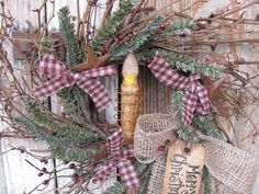 Primitive Christmas Winter Twiggy German Pine Berry and Rusty Star Wreath with TIMER Candle