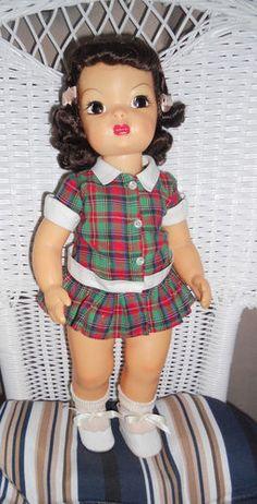 "Terri Lee 16"" Brunette Plaid Dropped Waist Dress 1950s"