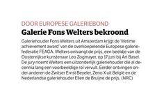 Wij feliciteren #FonsWelters met 'Lifetime Achievement Award' als galeriehouder http://on.fb.me/1GJLAd0