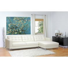 Babbitt Ivory Leather Modern Sectional Sofa | See White