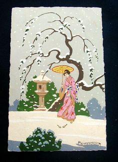1918s Italy RARE hand painted ART DECO signed MESCHINI series Japanese woman (C | eBay