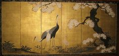 Japanese Six-Panel Edo Period Crane Screen