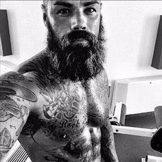 Martin Sjoholm - full thick bushy beard mustache beards bearded man men summer tattoos tattooed bearding muscles handsome #beardsforever