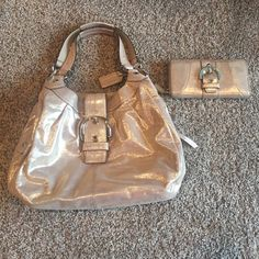 Coach Shimmer Purse and Wallet Set Neutral glitter (beige base with silver gold glitter material) purse and wallet set. Silver hardware. Three large locket for purse with multiple zippers and pouches inside. Wallet is a zip around wallet with multiple card slots. Coach Bags Hobos