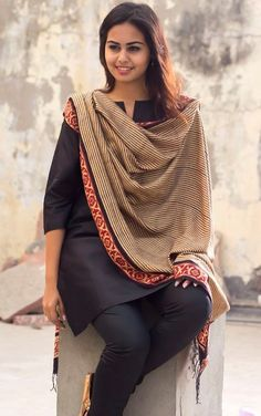 Black Silk Salwar Kameez with Handloom Dupatta
