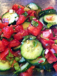 Cucumber, Tomato, Basil Salad... My FAV!!! Recipe on www.thepiggytoes.com