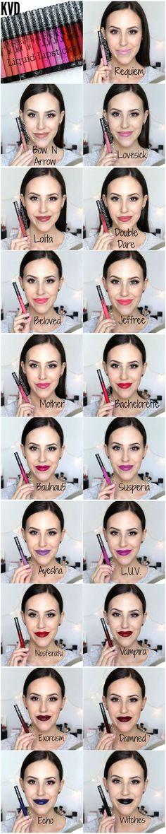 Color swatches of the top 10 best liquid lipsticks.  Lip stain | Liquid lipstick | | Long lasting lipstick | Best lipstick | Kat Von D | Sephora | Lip gloss | Matte lipstick | Makeup | Red lipstick | Nude lipsticks | Cream lip stains | Satin lip stain | Matte lippie | Best lipsticks | Best lip stains | Beauty products | Black lipsticks