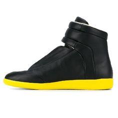 "S37WS0273 SX8966 900 - Maison Margiela: Future High Sneaker - ""Black/Yellow"" Black N Yellow, Trainers, Wedges, Future, Sneakers, Shoes, Fashion, Tennis, Moda"