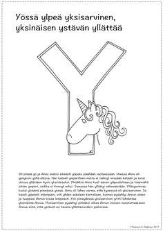 Y-kirjain tarina ja värityskuva