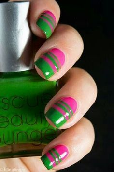 Pink and Green Nail Designs. Blue Green and Pink Nail Designs. pink and green nail designs Lime Nails, Neon Green Nails, Nails Yellow, Green Nail Art, Green Nail Polish, Green Nail Designs, Nail Polish Designs, Nail Art Designs, Fancy Nails