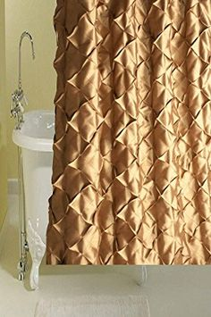 Ava Antique Bronze Diamond Puckered Faux Silk Shower Curtain Button Holed 72 Square BU
