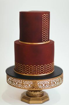 """Stunning Maroon and Gold Cake by Cake Craze Newcastle 12"""" gold wedding cake stand available for sale at amalfidecor.com #weddingcakes Floral Wedding Cakes, Elegant Wedding Cakes, Beautiful Wedding Cakes, Gorgeous Cakes, Wedding Cake Designs, Pretty Cakes, Amazing Cakes, Gold Cake Stand, Metal Cake Stand"""