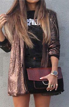 NWT ZARA Bronze Metallic Blazer Jacket With Sequins Size S Ref.2878/224 #ZARA #BasicJacket #Casual
