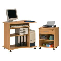 Maja Madrid Beech Mobile Computer Workstation and Pedestal from a selection of office desks with wheels.