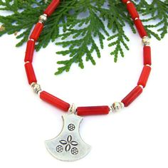 #Thai Fine Silver and Red #Coral #Handmade #Necklace by @ShadowDog #ShadowDogDesigns #Jewelry on #ArtFire, $50.00
