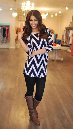 Dottie Couture Boutique -  Chevron Tunic- Navy, $44.00 (http://www.dottiecouture.com/chevron-tunic-navy-1/)