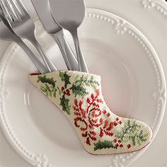 Mini stocking to hold silverware for Christmas table
