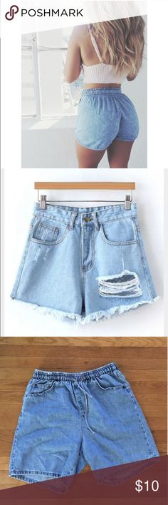 Vintage High Wasted Shorts Bought them to cut and make myself but never got around to do it and now they do not fit. Could be even cuter when cut and made your own! They have pockets in the front and drawstring waste! Should fit about a Medium! Totally open to a reasonable offer! Shorts Jean Shorts