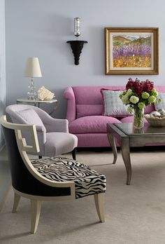 Gray and lavender. Also loving the different, yet complimentary lines of the furniture.